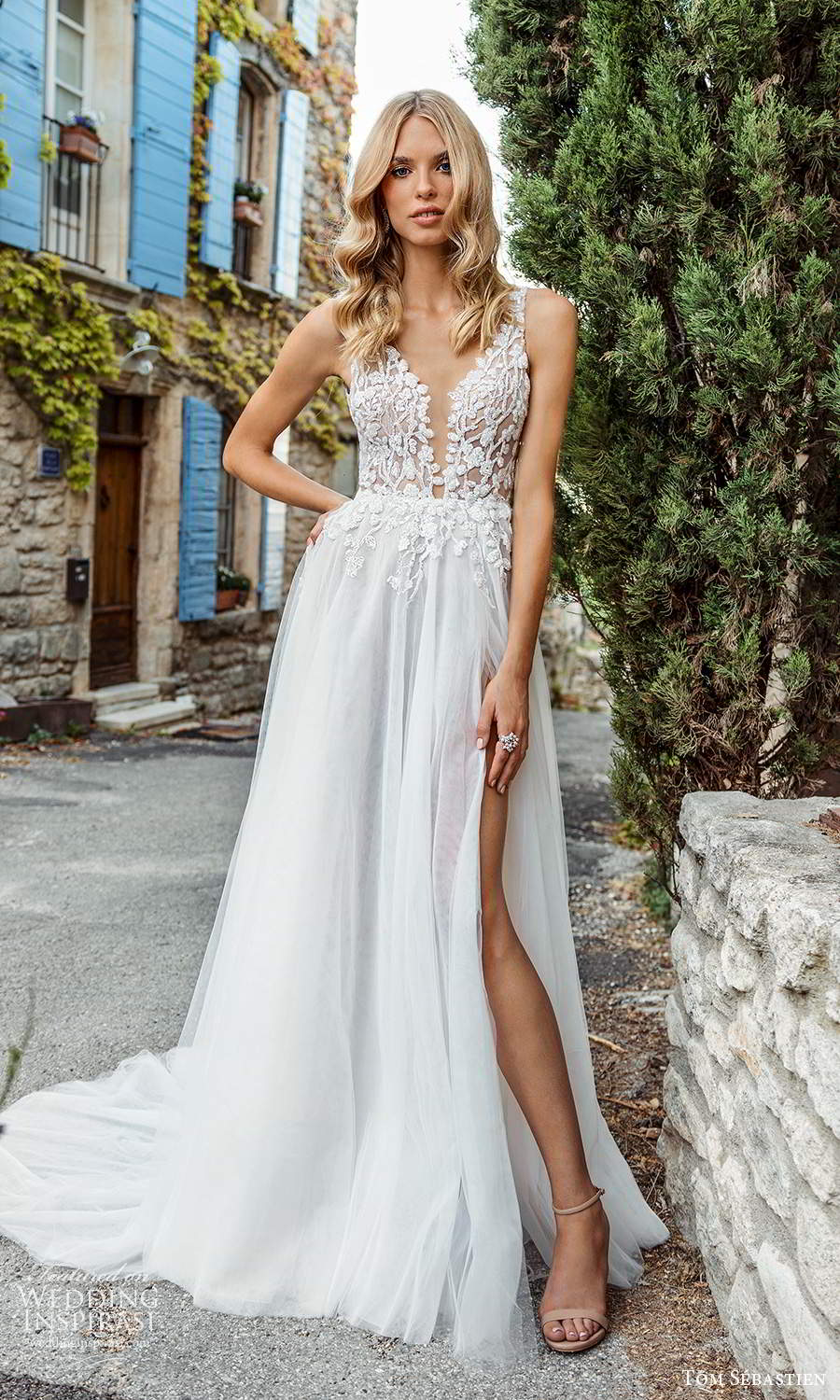 tom sebastien 2021 bridal provence sleeveless straps plunging v neckline embellished bodice a line ball gown wedding dress chapel train slit skirt (11) mv