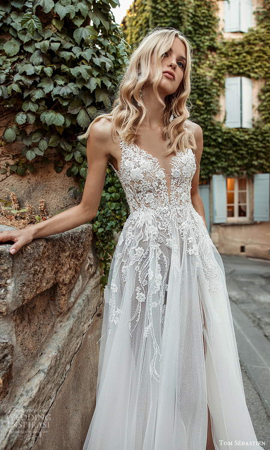tom sebastien 2021 bridal provence sleeveless straps plunging v neckline embellished lace neckline a line ball gown wedding dress slit skirt chapel train (12) mv