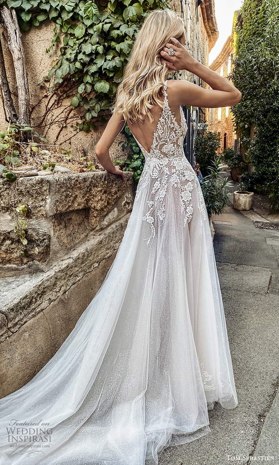 tom sebastien 2021 bridal provence sleeveless straps plunging v neckline embellished lace neckline a line ball gown wedding dress slit skirt chapel train v back (12) bv