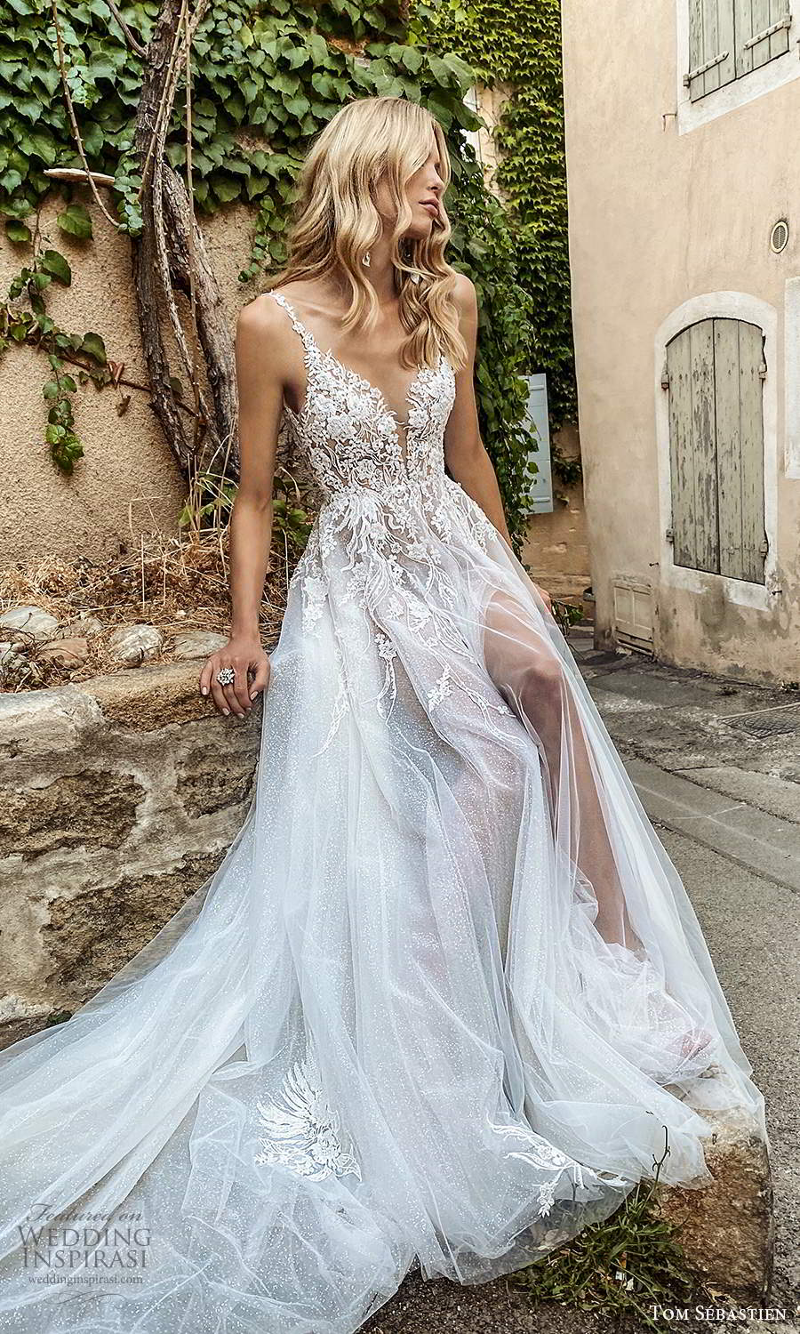 tom sebastien 2021 bridal provence sleeveless straps plunging v neckline embellished lace neckline a line ball gown wedding dress slit skirt chapel train v back (12) mv