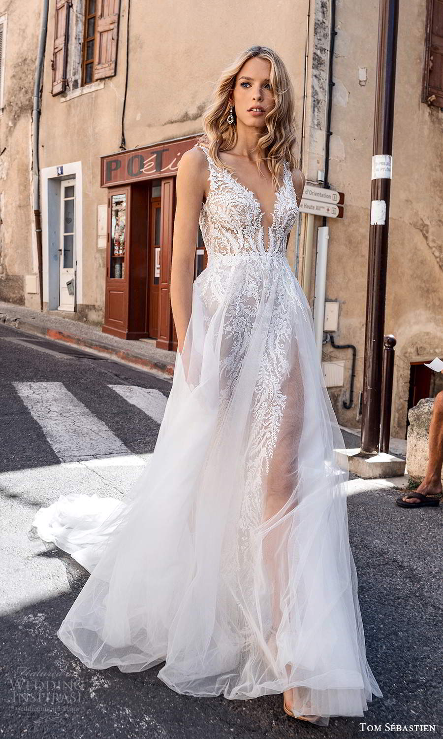 tom sebastien 2021 bridal provence sleeveless straps plunging v neckline fully embellished lace sheath wedding dress sheer a line overskirt chapel train (14) mv
