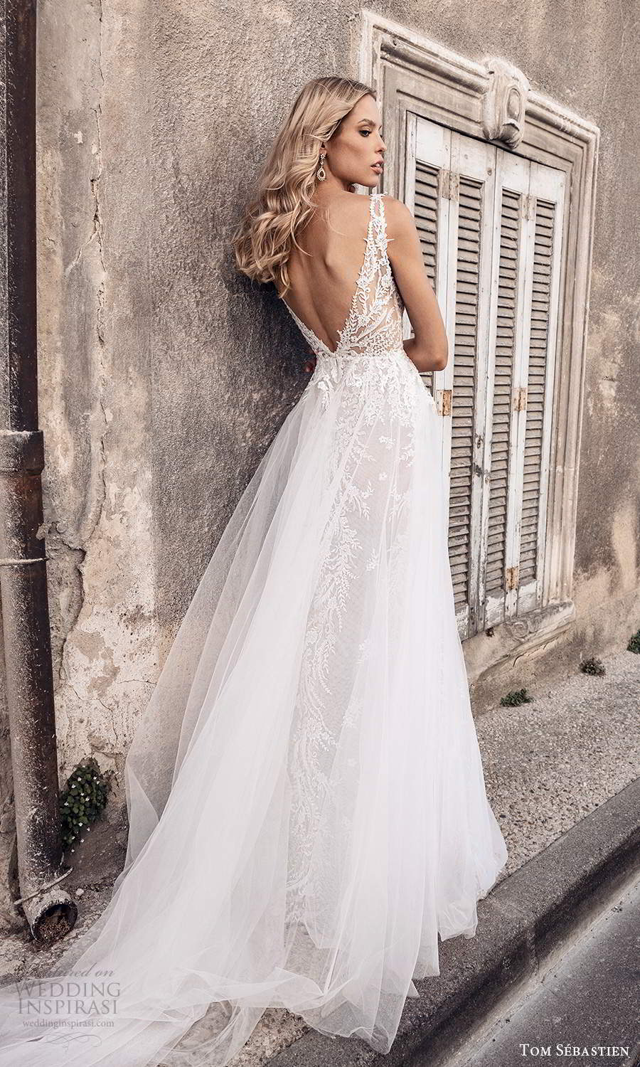 tom sebastien 2021 bridal provence sleeveless straps plunging v neckline fully embellished lace sheath wedding dress sheer a line overskirt chapel train v back (14) mv