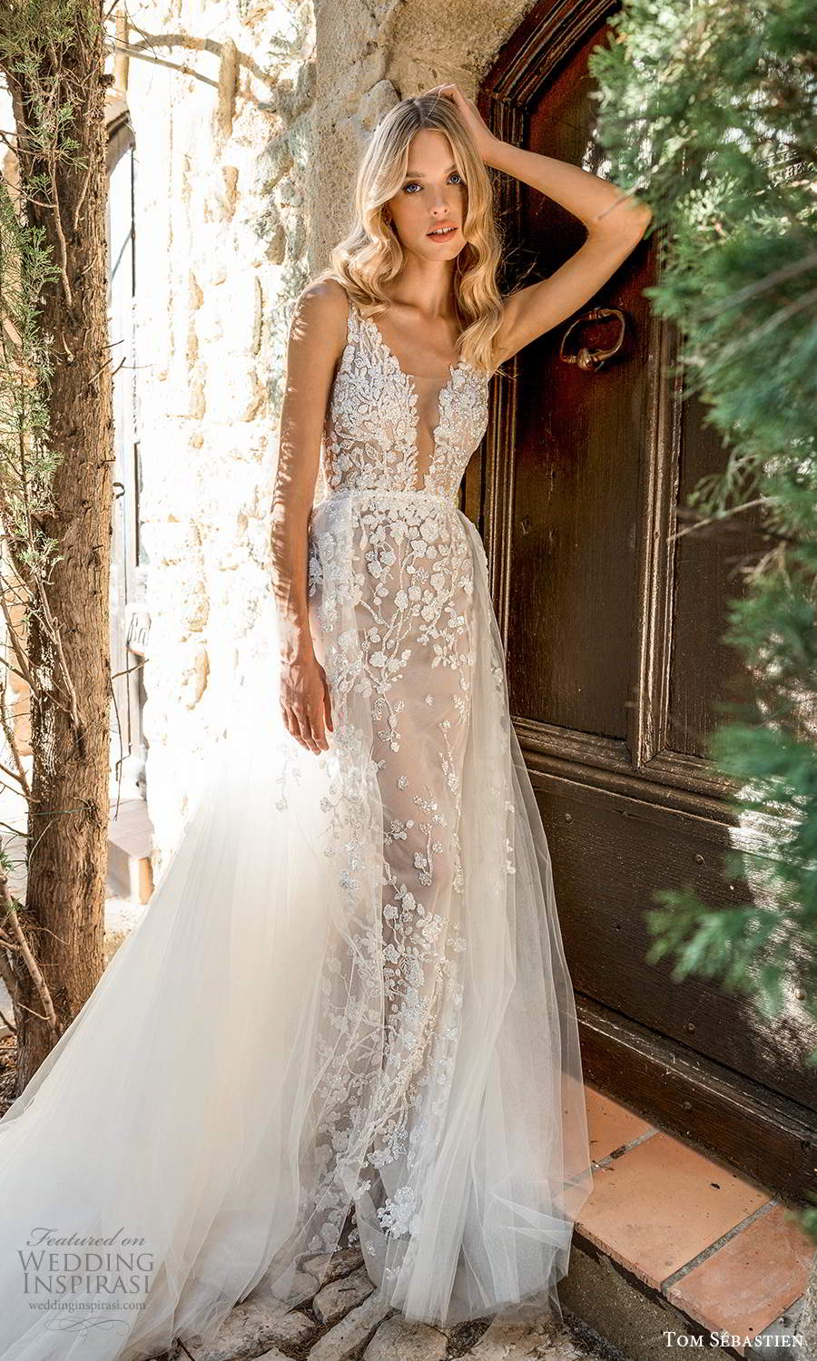 tom sebastien 2021 bridal provence sleeveless straps plunging v neckline fully embellished lace wedding dress a line ball gown overskirt chapel train (3) mv