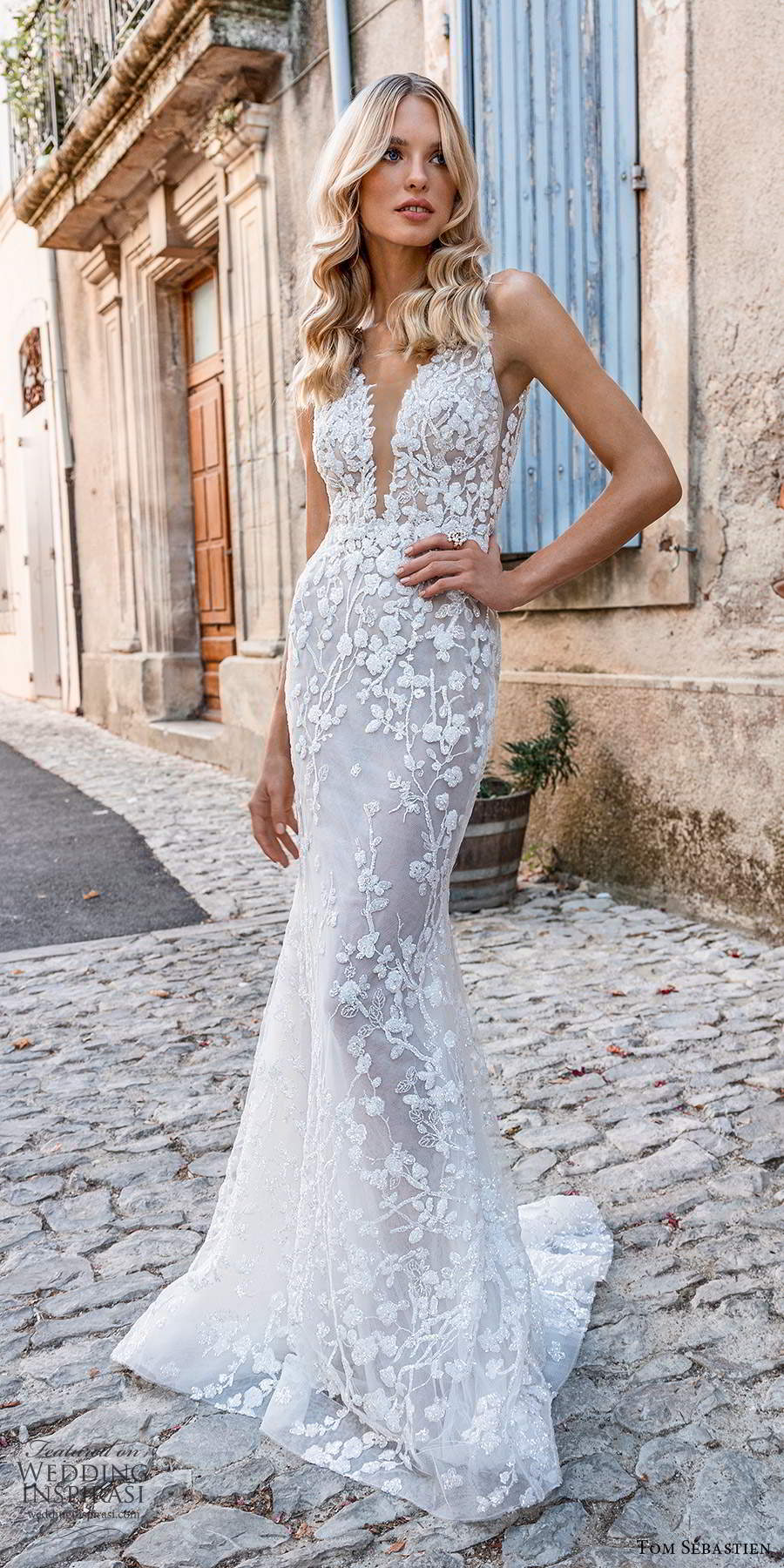 tom sebastien 2021 bridal provence sleeveless straps plunging v neckline fully embellished lace wedding dress sweep train (3) lv