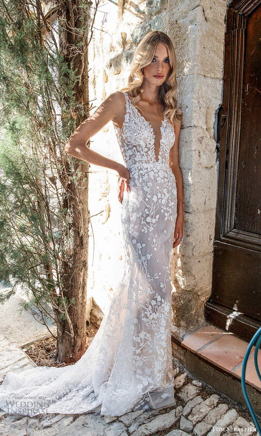 tom sebastien 2021 bridal provence sleeveless straps plunging v neckline fully embellished lace wedding dress sweep train (3) mv