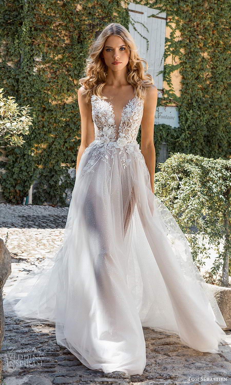 tom sebastien 2021 bridal provence sleeveless straps plunging v neckline heavily embellished bodice a line ball gown wedding dress slit skirt chapel train (2) mv