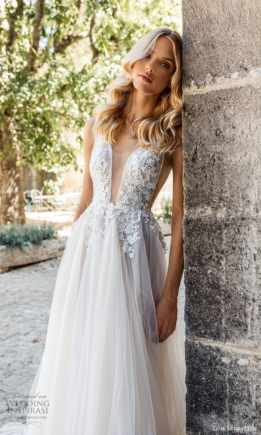 tom sebastien 2021 bridal provence sleeveless straps plunging v neckline side cutout embellished lace bodice a line ball gown wedding dress chapel train (9) mv
