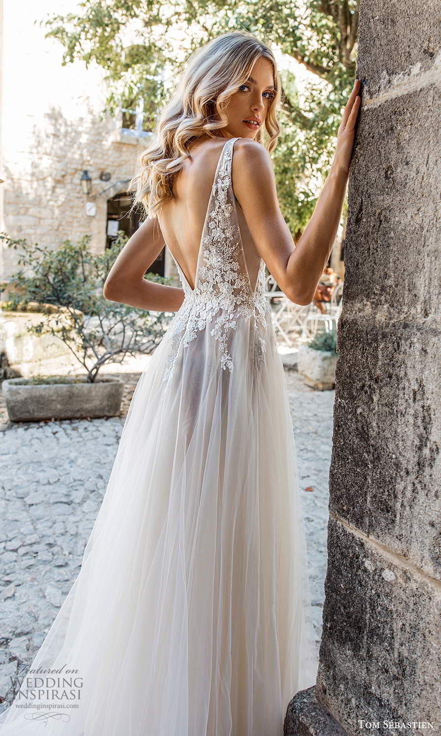 tom sebastien 2021 bridal provence sleeveless straps plunging v neckline side cutout embellished lace bodice a line ball gown wedding dress chapel train v back (9) zbv