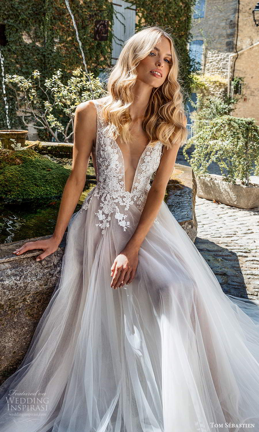 tom sebastien 2021 bridal provence sleeveless straps plunging v neckline side cutout embellished lace bodice a line ball gown wedding dress chapel train v back (9) zv