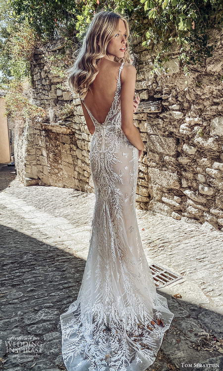 tom sebastien 2021 bridal provence sleeveless straps v neckline fully embellished lace sheath mermaid wedding dress chapel train (10) bv