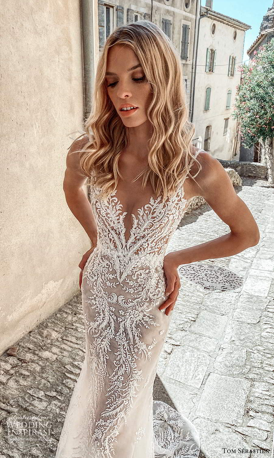 tom sebastien 2021 bridal provence sleeveless straps v neckline fully embellished lace sheath mermaid wedding dress chapel train (10) zv