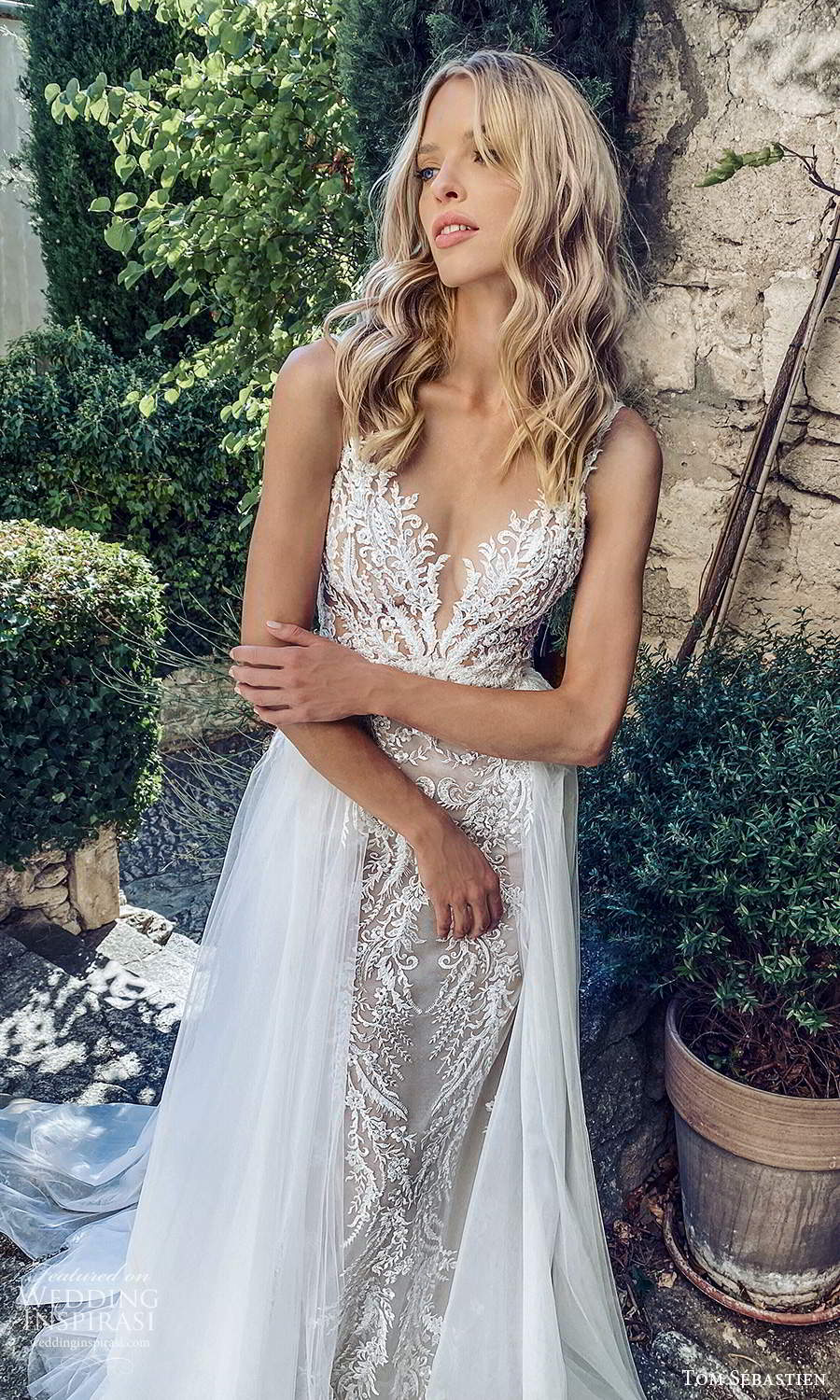 tom sebastien 2021 bridal provence sleeveless straps v neckline fully embellished lace sheath mermaid wedding dress chapel train overskirt (10) mv
