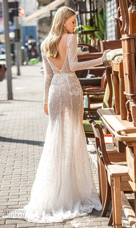adam zohar 2021 lago bridal long sleeves plunging v neckline fully embellished fit flare modified a line wedding dress chapel train blush v back (9) bv