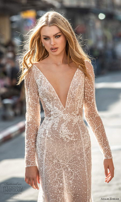 adam zohar 2021 lago bridal long sleeves plunging v neckline fully embellished fit flare modified a line wedding dress chapel train blush v back (9) zv