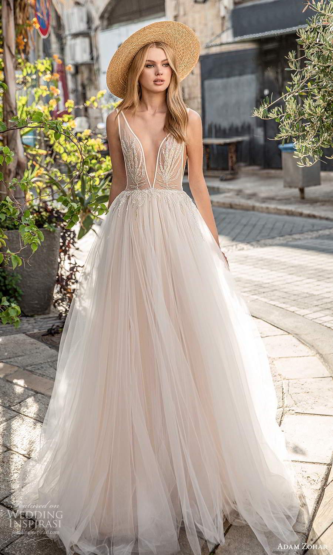 adam zohar 2021 lago bridal sleeveless straps plunging v neckline embellished bodice a line ball gown wedding dress chapel train blush (3) mv