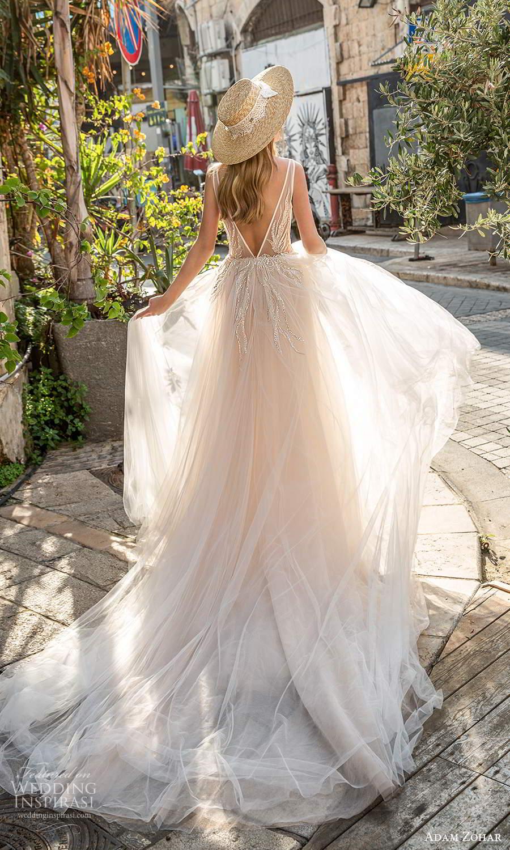 adam zohar 2021 lago bridal sleeveless straps plunging v neckline embellished bodice a line ball gown wedding dress chapel train blush v back (3) bv