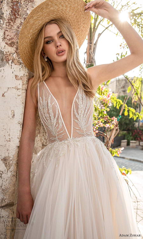 adam zohar 2021 lago bridal sleeveless straps plunging v neckline embellished bodice a line ball gown wedding dress chapel train blush v back (3) zv