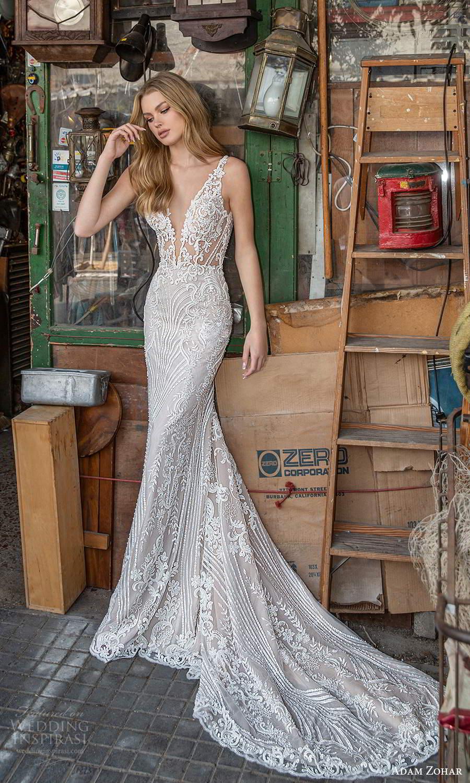 adam zohar 2021 lago bridal sleeveless straps plunging v neckline fully embellished lace sheath wedding dress chapel train (2) mv