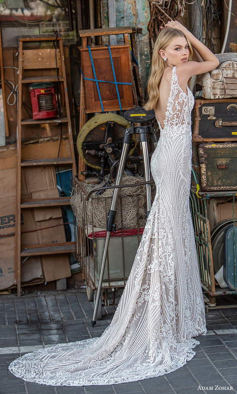 adam zohar 2021 lago bridal sleeveless straps plunging v neckline fully embellished lace sheath wedding dress chapel train v back (2) bv
