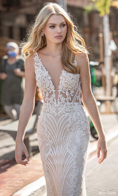 adam zohar 2021 lago bridal sleeveless straps plunging v neckline fully embellished lace sheath wedding dress chapel train v back (2) zv