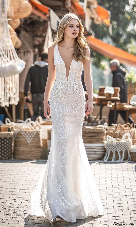 adam zohar 2021 lago bridal sleeveless straps plunging v neckline fully embellished trumpet mermaid wedding dress chapel train (5) mv