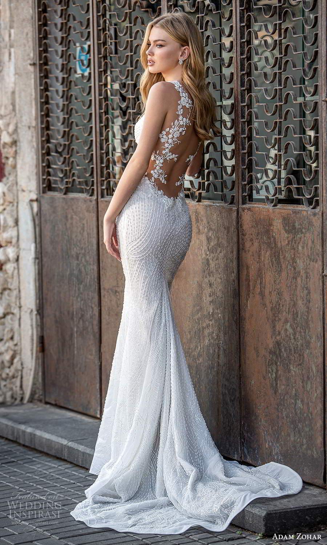 adam zohar 2021 lago bridal sleeveless straps plunging v neckline fully embellished trumpet mermaid wedding dress chapel train sheer back (5) bv