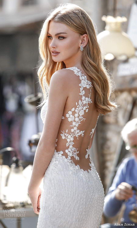adam zohar 2021 lago bridal sleeveless straps plunging v neckline fully embellished trumpet mermaid wedding dress chapel train sheer back (5) zbv