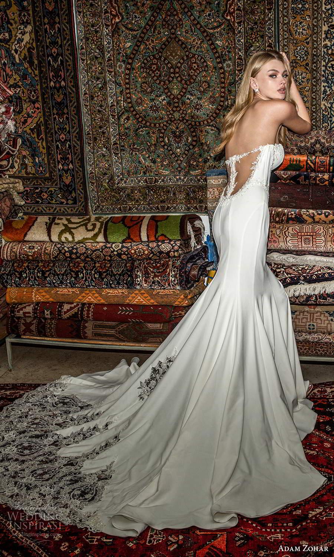 adam zohar 2021 lago bridal strapless sweetheart neckline corset bodice clean minimalist fit flare mermaid wedding dress chapel train (7) bv