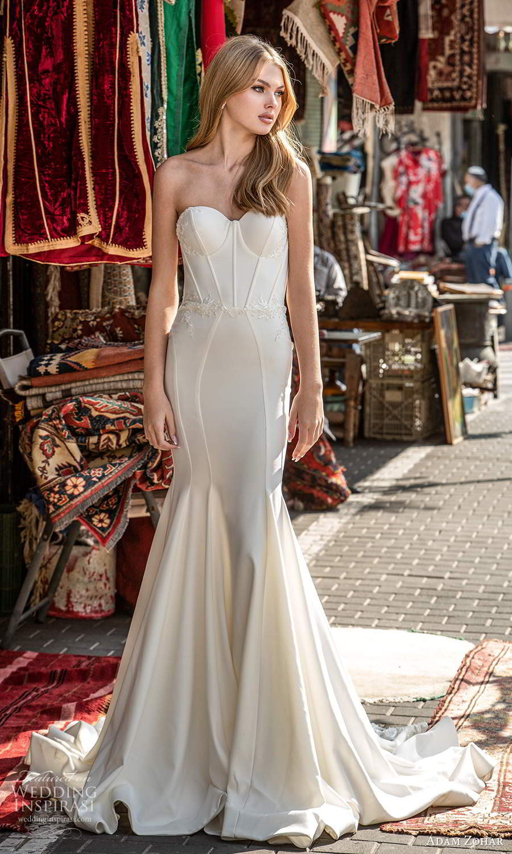 adam zohar 2021 lago bridal strapless sweetheart neckline corset bodice clean minimalist fit flare mermaid wedding dress chapel train (7) mv