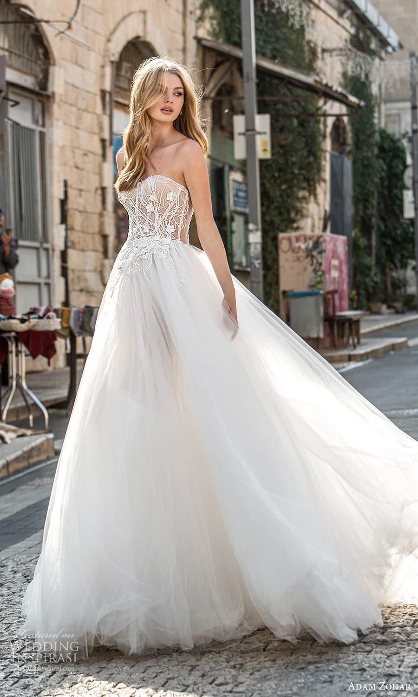 adam zohar 2021 lago bridal strapless sweetheart neckline embellished bodice a line ball gown wedding dress chapel train (10) mv