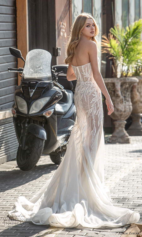 adam zohar 2021 lago bridal strapless sweetheart neckline embellished bodice sheath wedding dress chapel train (1) bv