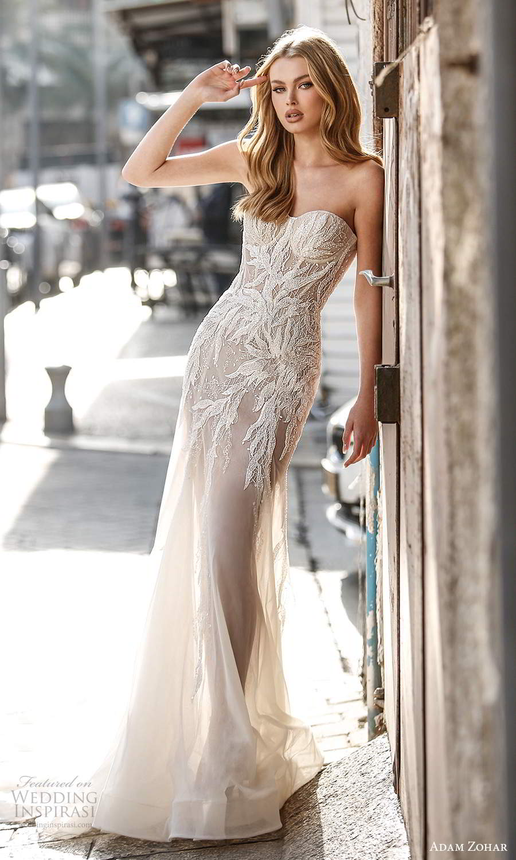 adam zohar 2021 lago bridal strapless sweetheart neckline embellished bodice sheath wedding dress chapel train (1) mv