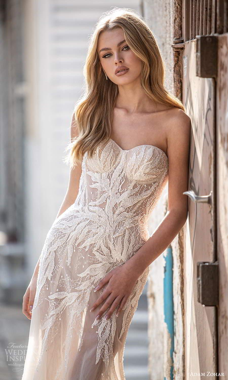 adam zohar 2021 lago bridal strapless sweetheart neckline embellished bodice sheath wedding dress chapel train (1) zv
