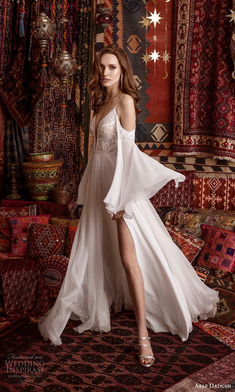 asaf dadush 2021 bridal detached flare sleeves sleeveless straps plunging v neckline embellished bodice clean skirt a line wedding dress slit skirt chapel train (5) mv
