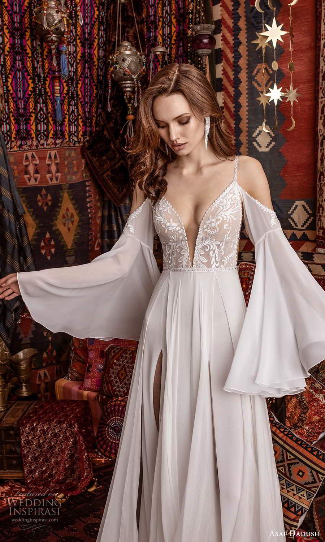 asaf dadush 2021 bridal detached flare sleeves sleeveless straps plunging v neckline embellished bodice clean skirt a line wedding dress slit skirt chapel train (5) zv