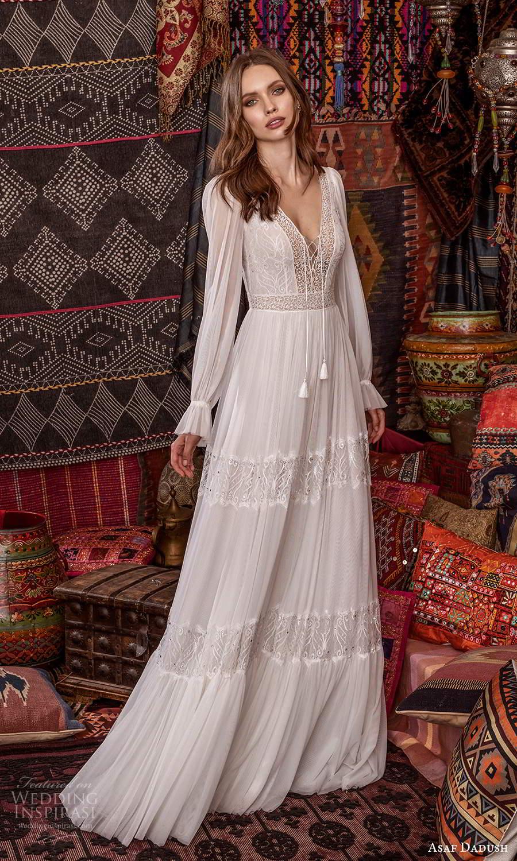 asaf dadush 2021 bridal long puff sleeves v neckline embellished lace boho a line wedding dress (6) mv