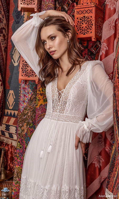 asaf dadush 2021 bridal long puff sleeves v neckline embellished lace boho a line wedding dress (6) zv