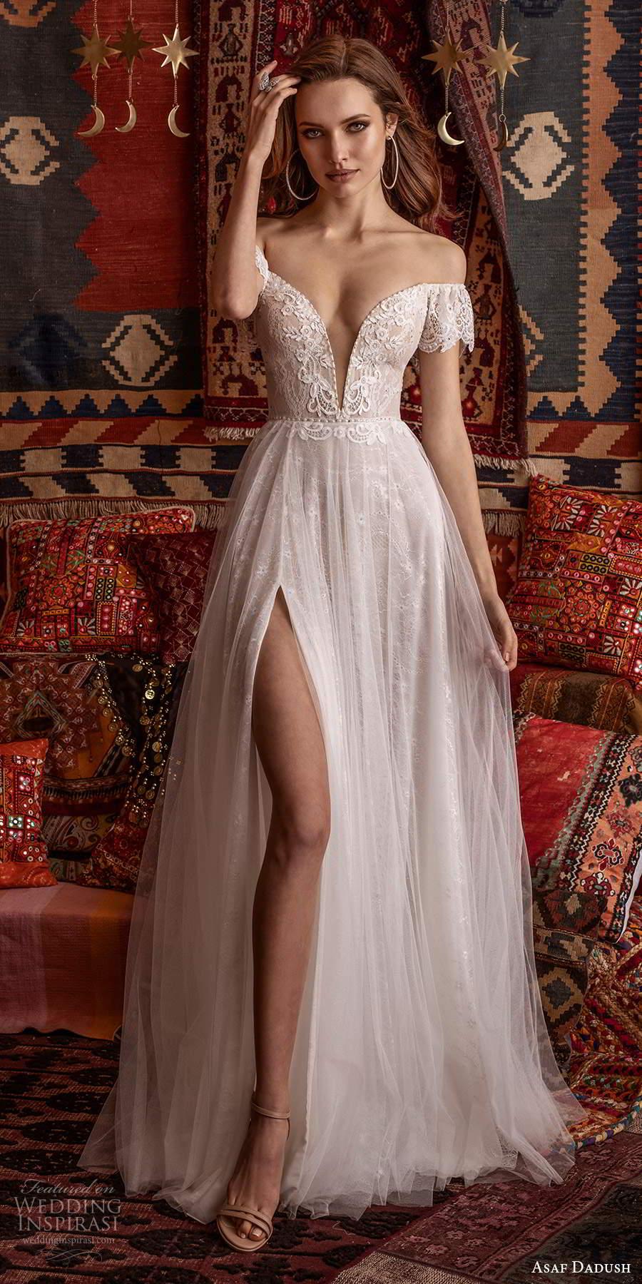 asaf dadush 2021 bridal off shoulder flutter sleeves plunging v neckline embellished a line wedding dress slit skirt chapel train (2) lv