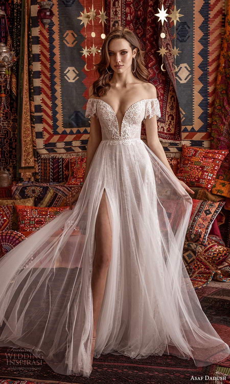 asaf dadush 2021 bridal off shoulder flutter sleeves plunging v neckline embellished a line wedding dress slit skirt chapel train (2) mv