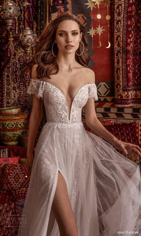 asaf dadush 2021 bridal off shoulder flutter sleeves plunging v neckline embellished a line wedding dress slit skirt chapel train (2) zv