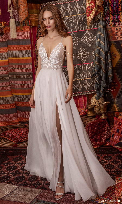 asaf dadush 2021 bridal off shoulder swag straps sleeveless plunging v neckline embellished bodice a line ball gown wedding dress slit skirt (4) mv