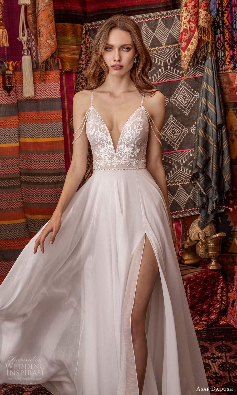 asaf dadush 2021 bridal off shoulder swag straps sleeveless plunging v neckline embellished bodice a line ball gown wedding dress slit skirt low open back (4) zv
