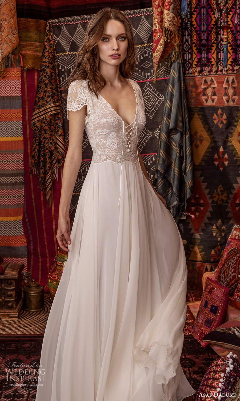 asaf dadush 2021 bridal short sleeves v neckline embellished lace bodice a line wedding dress clean skirt (15) mv