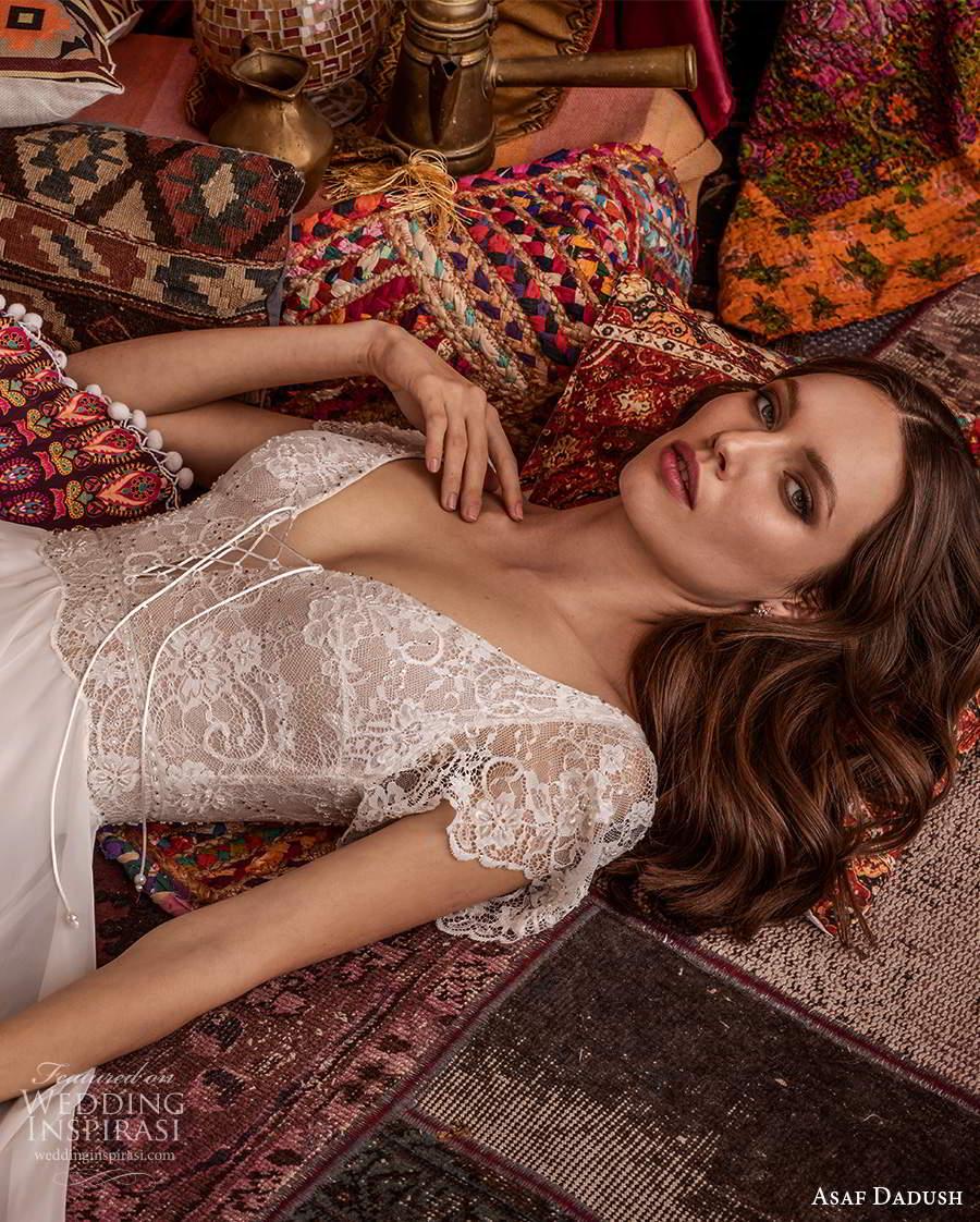 asaf dadush 2021 bridal short sleeves v neckline embellished lace bodice a line wedding dress clean skirt (15) zv