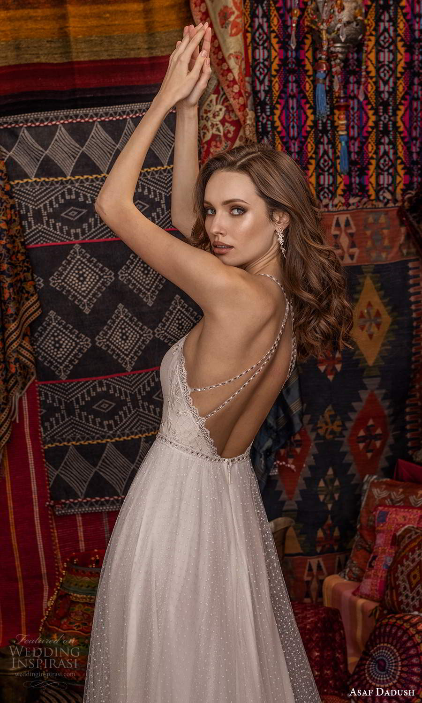 asaf dadush 2021 bridal sleeveless beaded straps sweetheart neckline fully embellished a line wedding dress (13) zbv