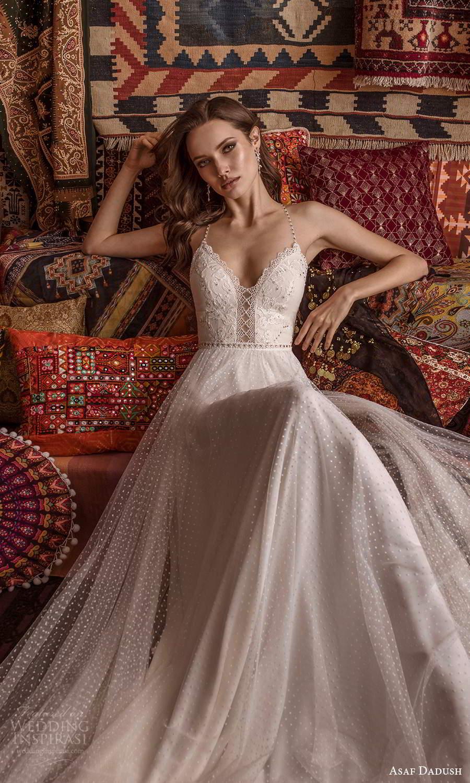 asaf dadush 2021 bridal sleeveless beaded straps sweetheart neckline fully embellished a line wedding dress (13) zv