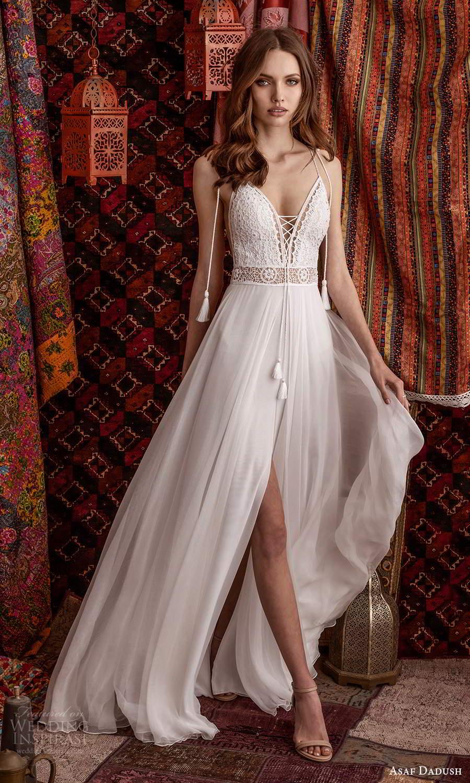 asaf dadush 2021 bridal sleeveless straps plunging v neckline embellished bodice a line ball gown wedding dress chapel train slit skirt (3) mv