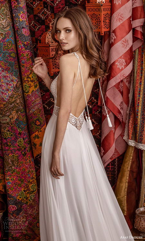 asaf dadush 2021 bridal sleeveless straps plunging v neckline embellished bodice a line ball gown wedding dress chapel train slit skirt low back (3) zbv