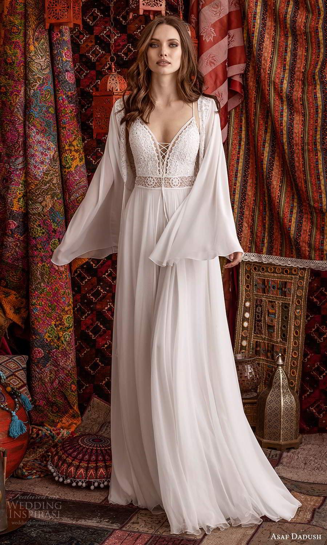 asaf dadush 2021 bridal sleeveless straps plunging v neckline embellished bodice a line ball gown wedding dress chapel train slit skirt low back long sleeve top (3) mv