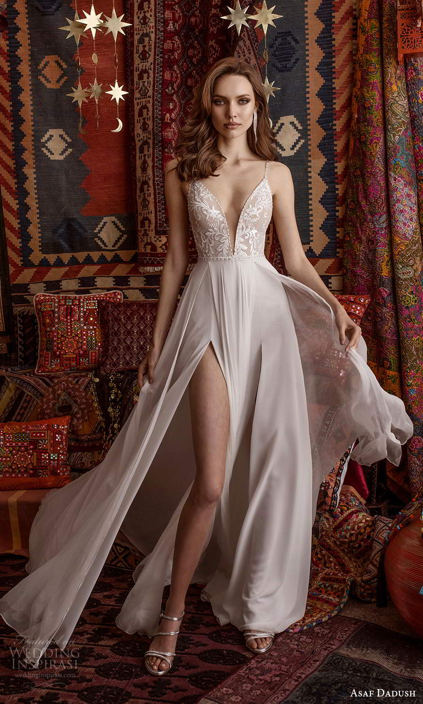 asaf dadush 2021 bridal sleeveless straps plunging v neckline embellished bodice a line ball gown wedding dress slit skirt (12) mv